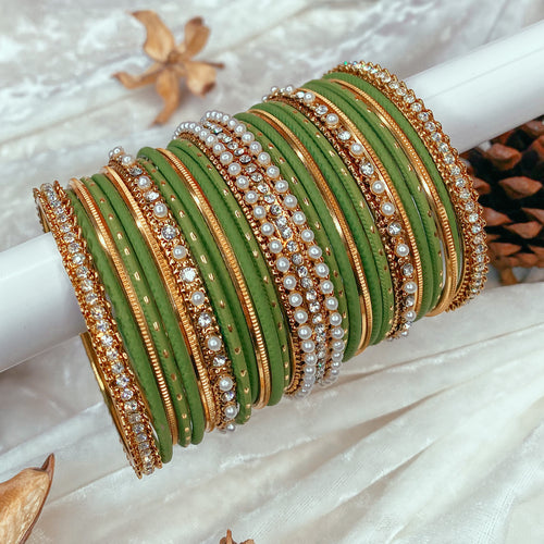 Mehndi Green Bangle stack