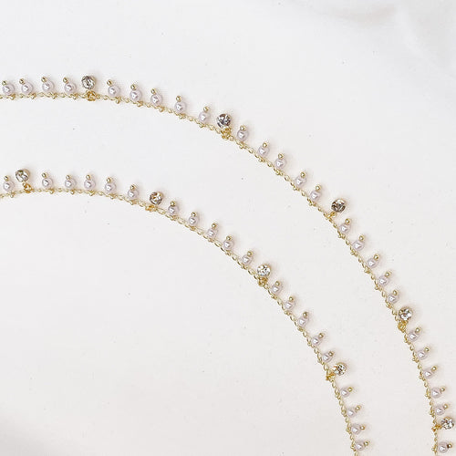 Manal Crystal Charm Anklets - Gold