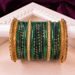 Emerald Green Dot Bangle stack