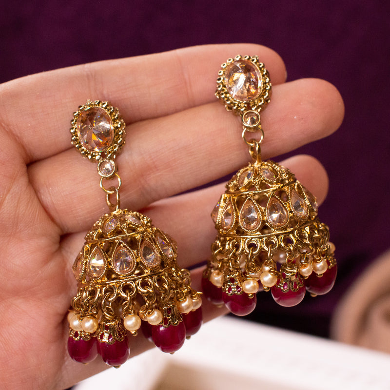Antique Gold Jhumka Earrings - Maroon