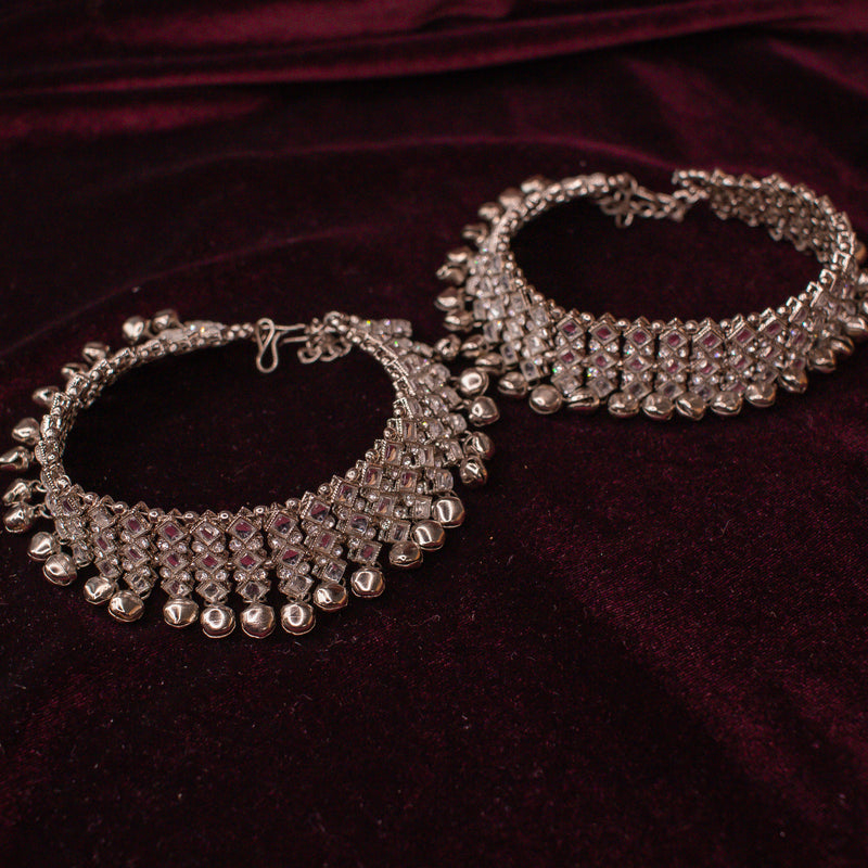 Thick Silver Noisey Bell Anklets