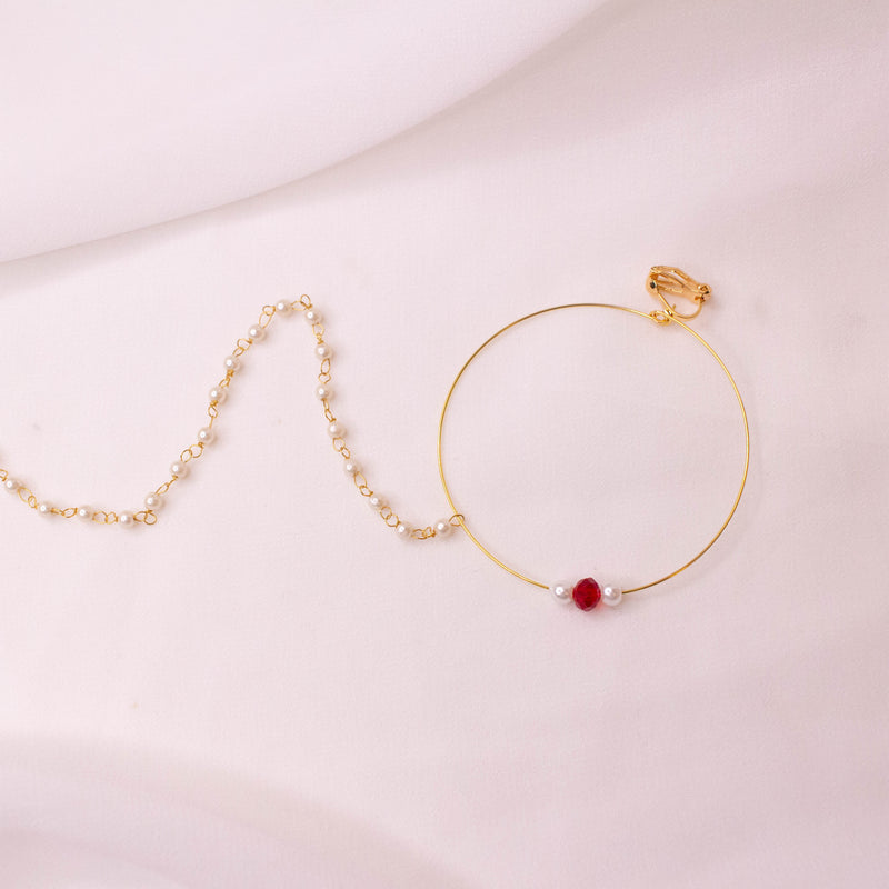 Red Bead Nose ring - Clip on