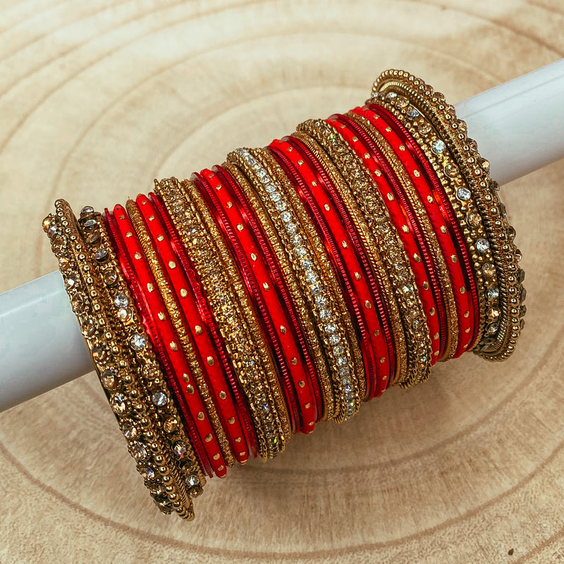 Deep Red Bangle stack