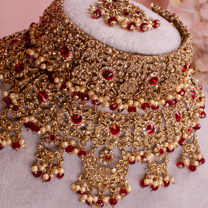 Alicia Bridal Double necklace set - Maroon