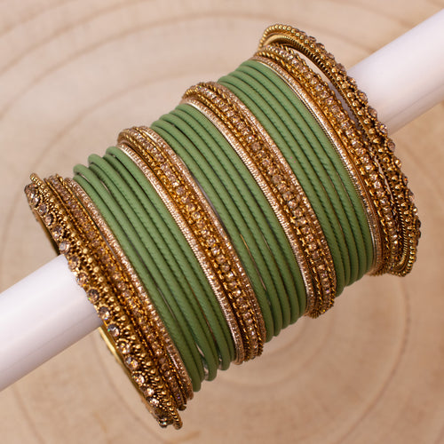 Khaaki Green Bangle stack