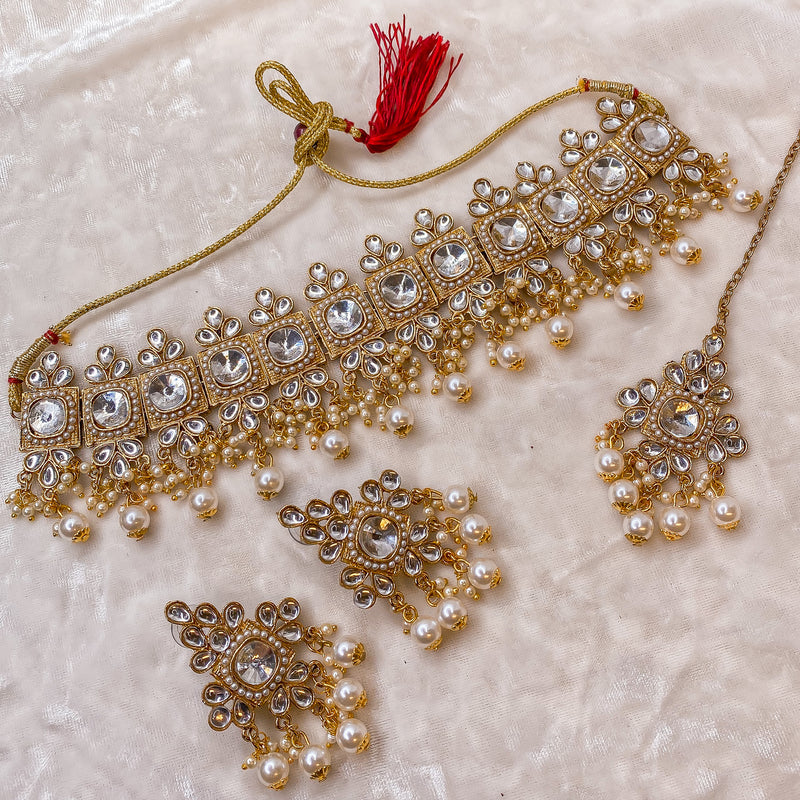 Ghazala Choker Set - Gold