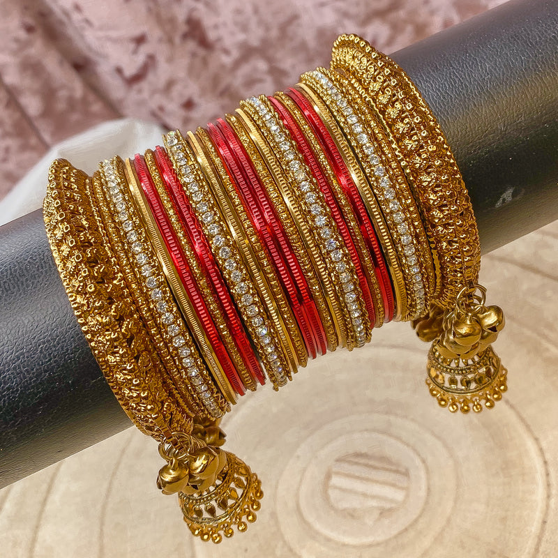 Red jhumka Bangle stack