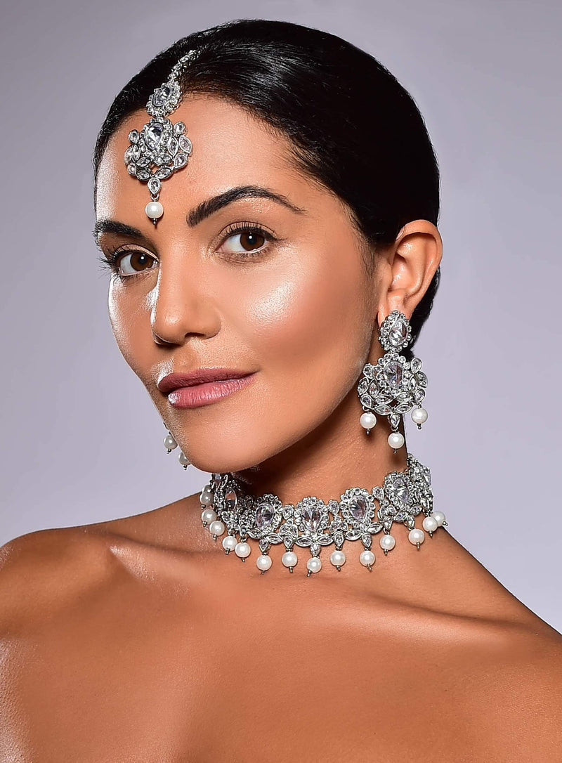 Parthvi Choker Set - Clear Crystal