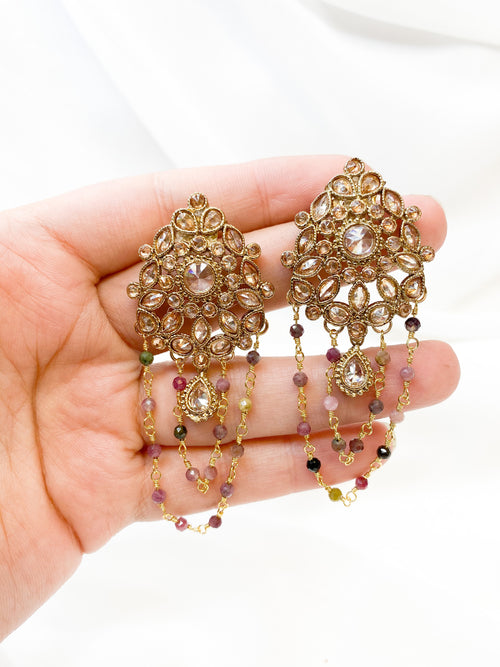 Stefani Tourmaline Chained Earrings