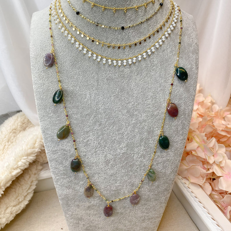 Long Gold plated Tourmaline Necklace