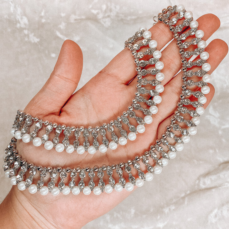 Silver and Pearl Anklets