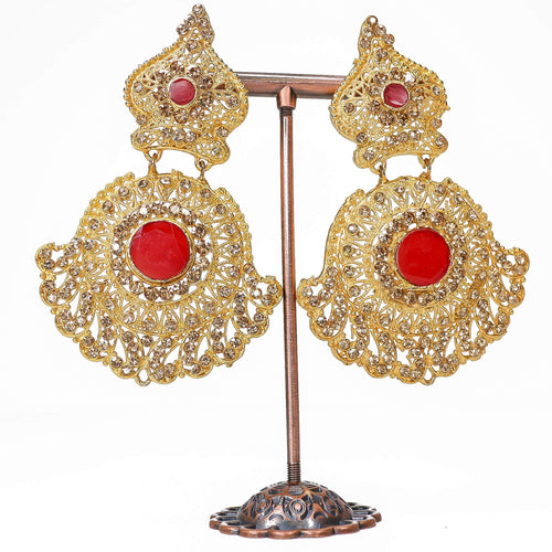Bahubali Earrings - Red Gem