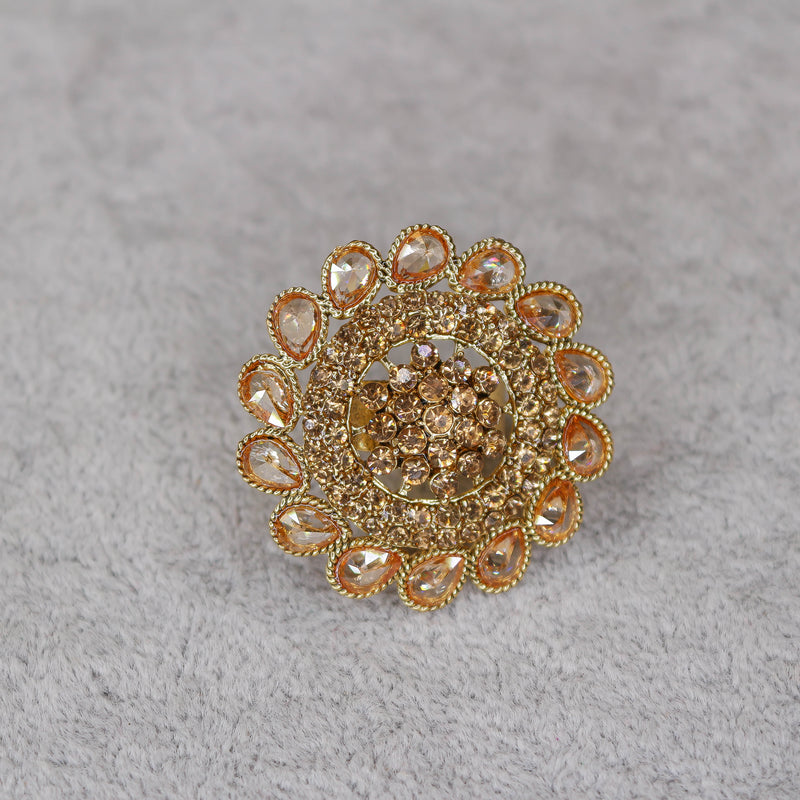 Round Floral Gold Ring - Champagne