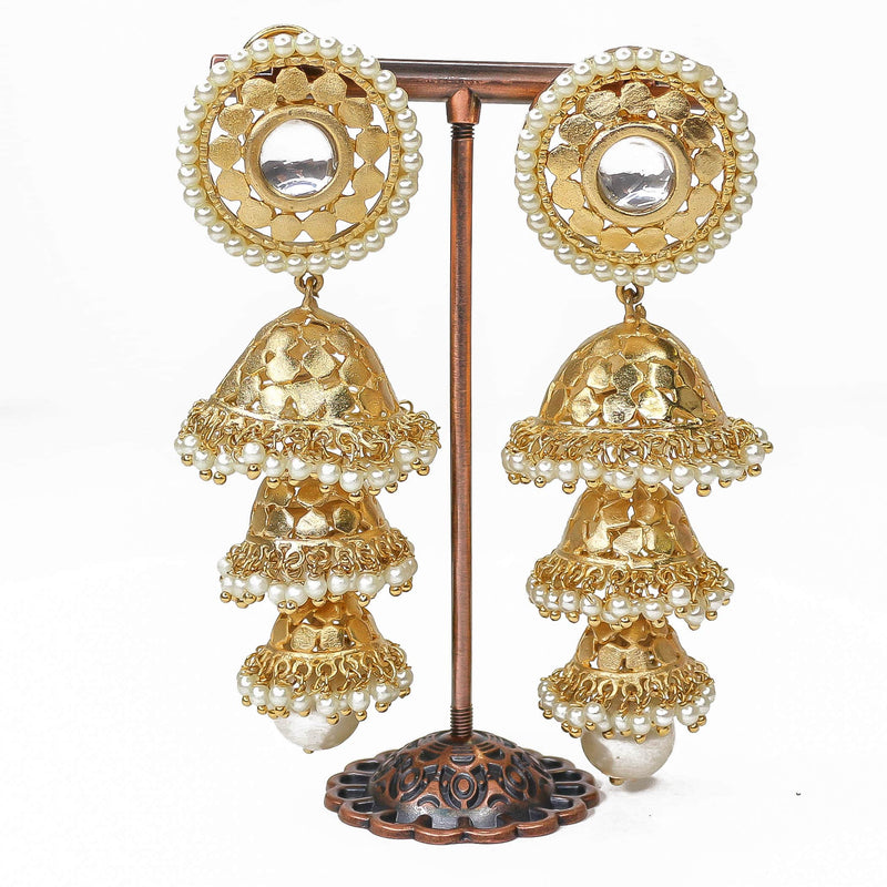 Matt Gold Layered Jhumka Earrings