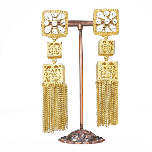 Kundan Detail Tassle Earrings