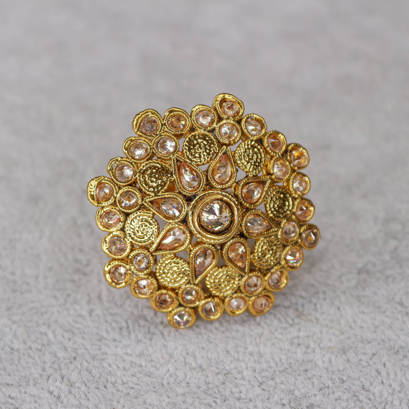 Round Bright Gold Ring - Champagne