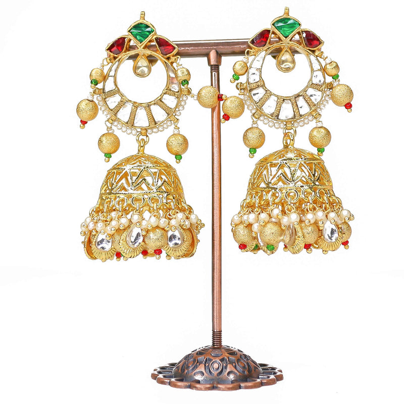 Multi Colour Kundan Jhumka Earrings