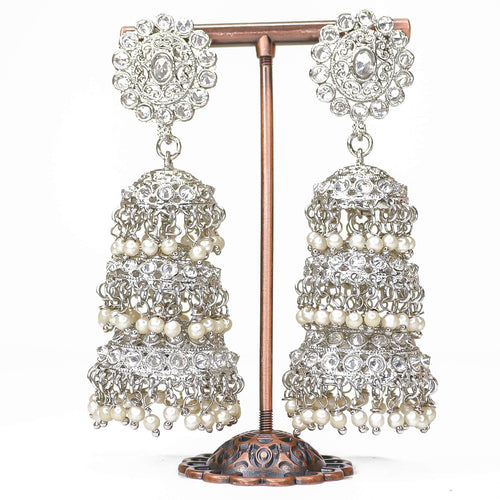 Safa Silver Jhumka Earrings