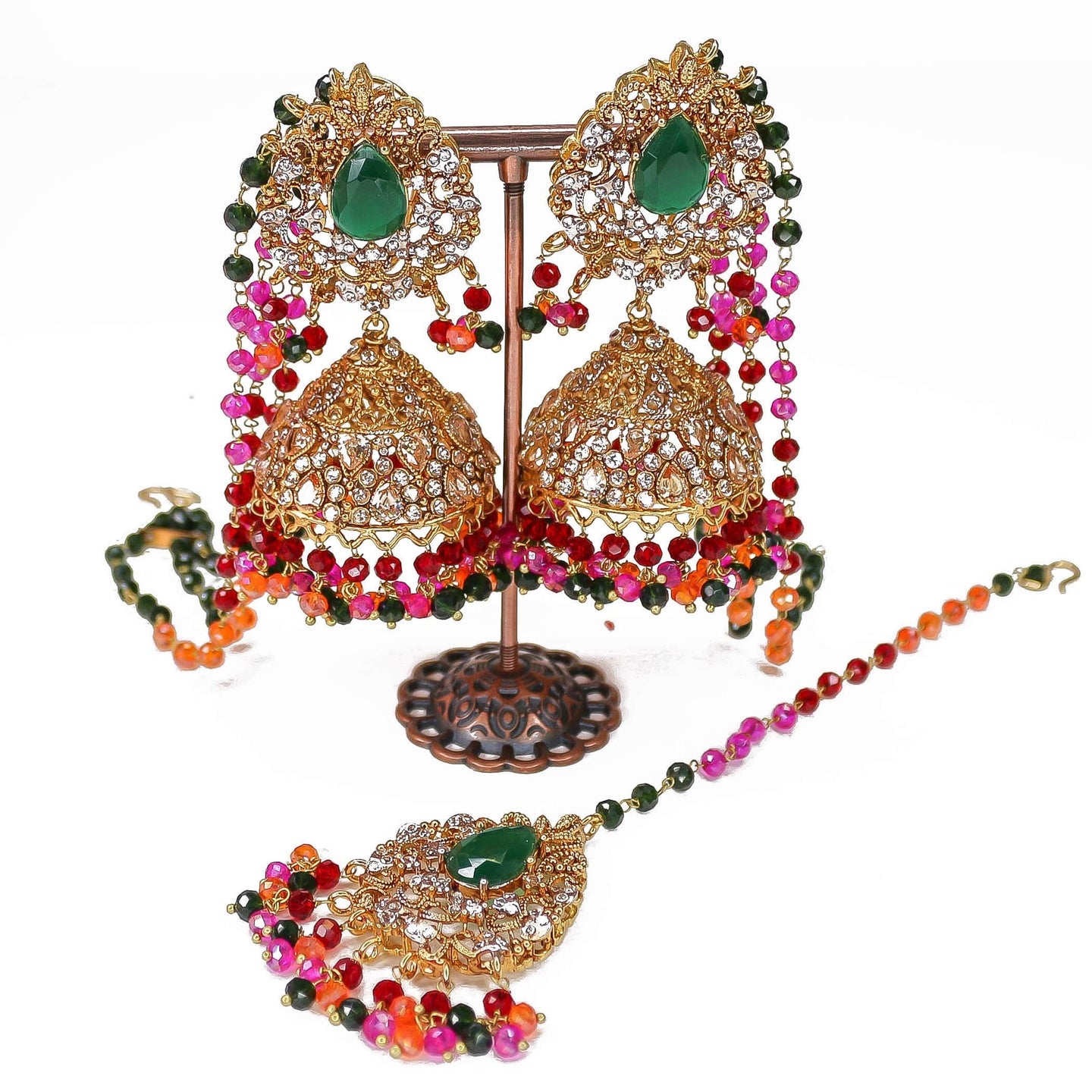Multicolour Jhumka and Tikka set