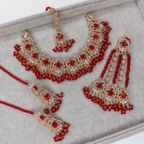 Luna Bridal Necklace set - Siam Red