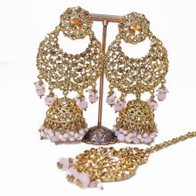 Load image into Gallery viewer, Oversized Jhumka Earrings and Tikka set - Dusky Pink