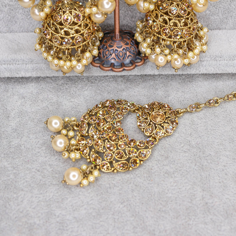 Oversized Jhumka Earrings and Tikka set - Antique