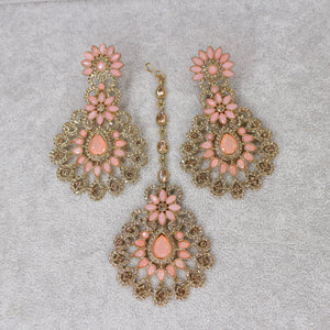 Hafsa Earrings and Tikka set - Light Pink