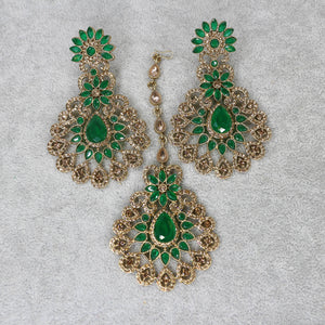Hafsa Earrings and Tikka set - Green