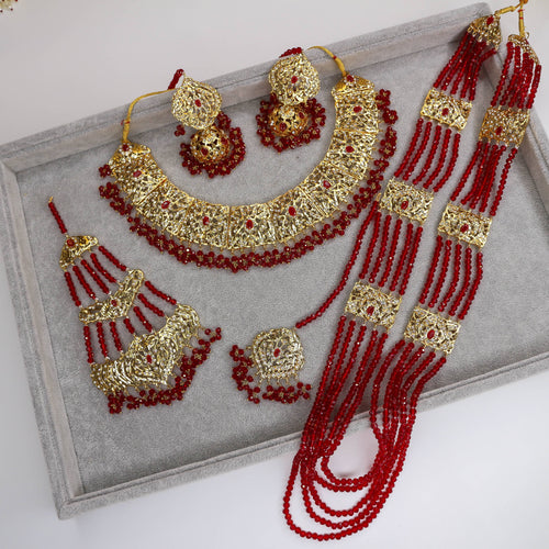 Lindeza Gold plated Bridal Set - Maroon