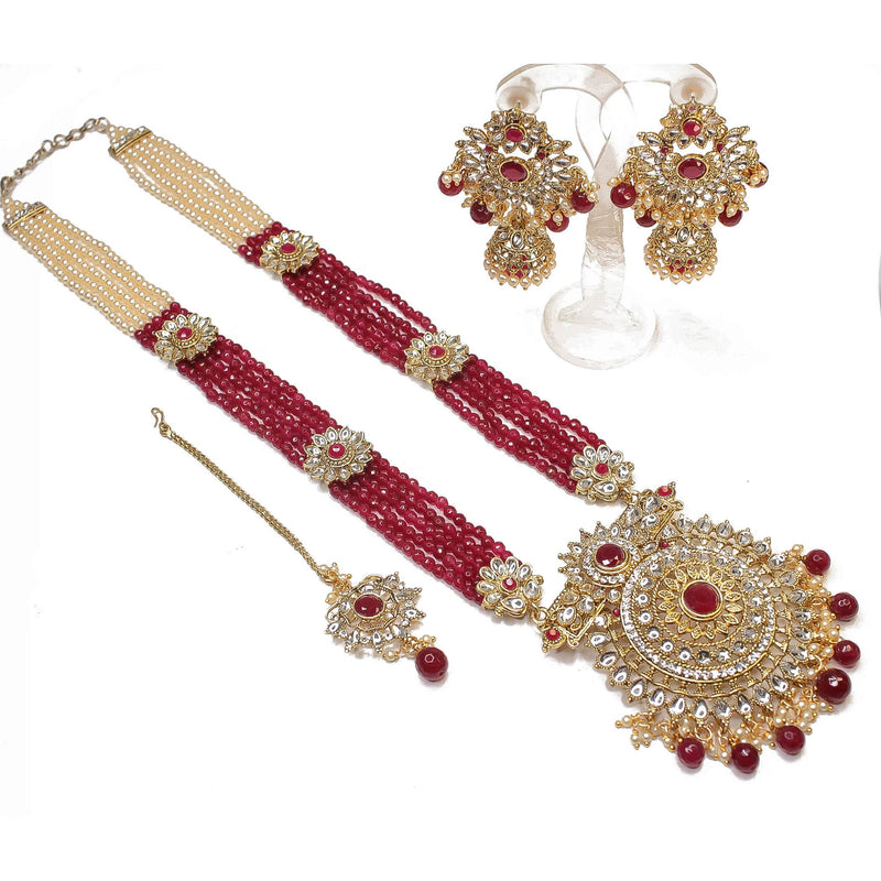 Surya Long Statement Pendant Set - Ruby