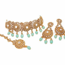 Load image into Gallery viewer, Hermina Gold Choker Necklace Set -Mint