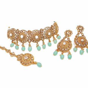 Hermina Gold Choker Necklace Set -Mint