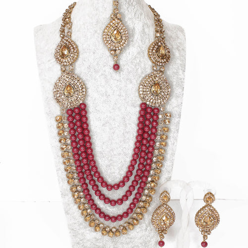 Mahima Necklace set - Maroon