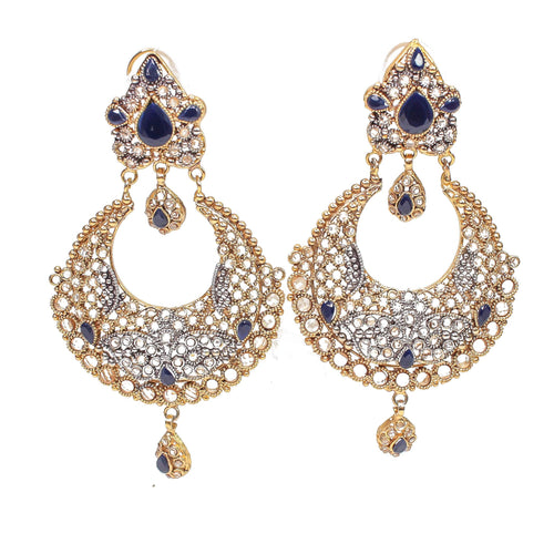 Helen Luxurious Gold Plated Earrings -Navy
