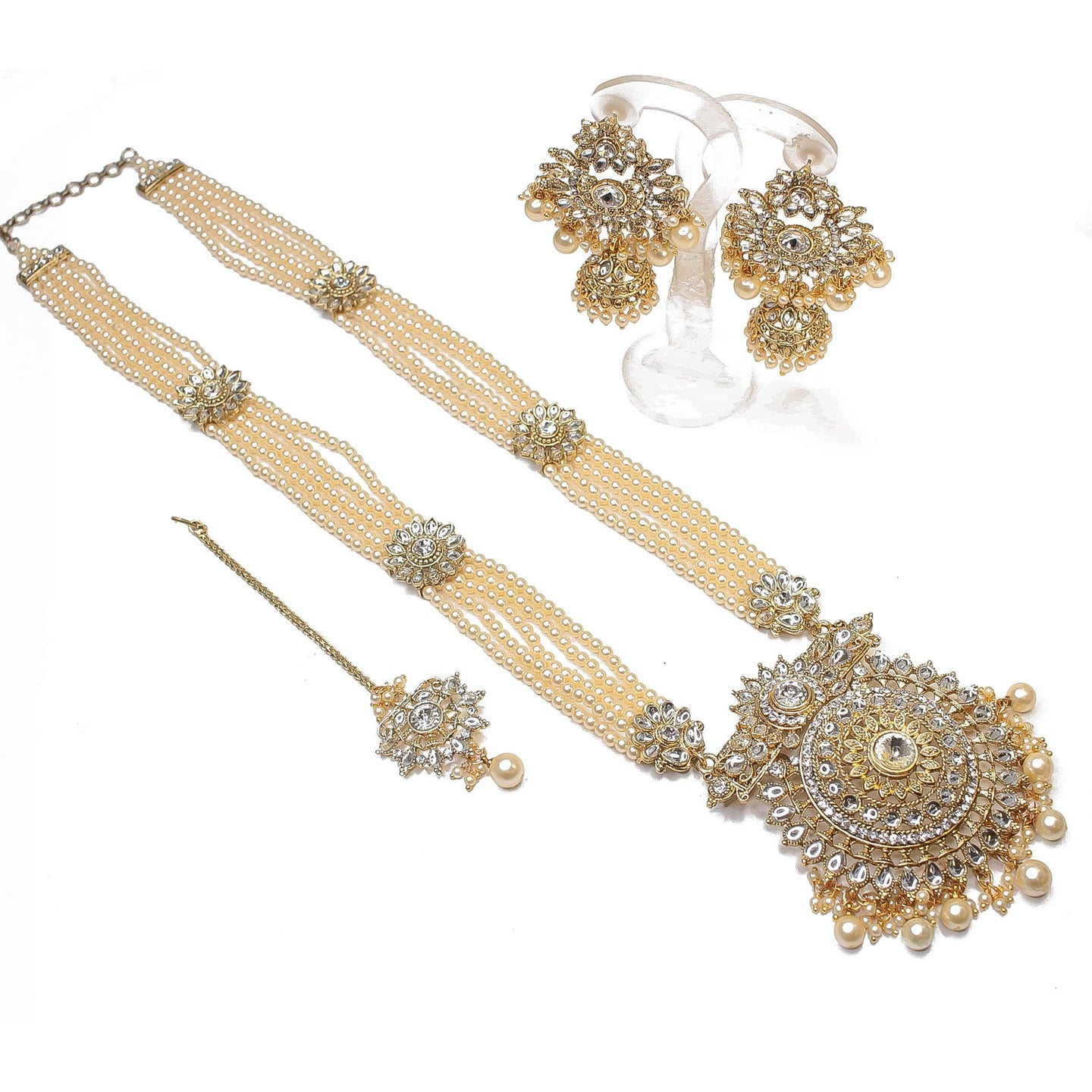 Surya Long Statement Pendant Set - Pearl