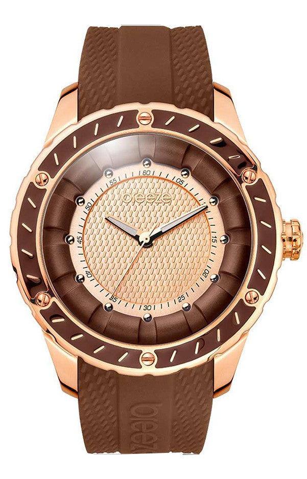 BREEZE Spiral Galaxy Rose Gold Brown Rubber Strap 110301.6