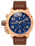 BREEZE Kryptonite Dual Time Brown Leather Strap 110702.3