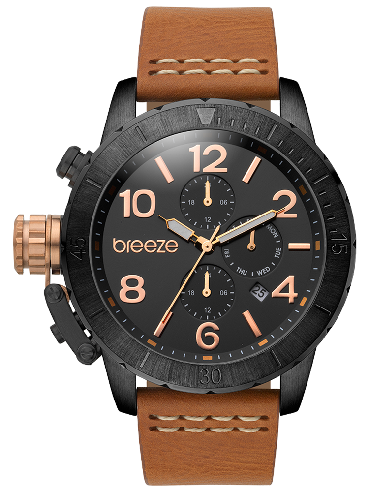BREEZE Kryptonite Dual Time Brown Leather Strap 110702.4