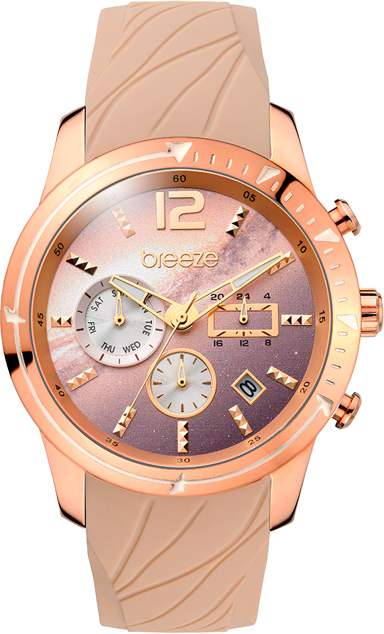 BREEZE Selena Rose Gold Brown Rubber Strap 110781.4