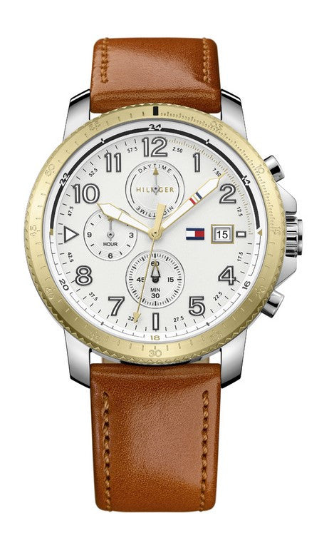 Tommy Hilfiger Travis Multifunction Brown Leather Strap 1791363