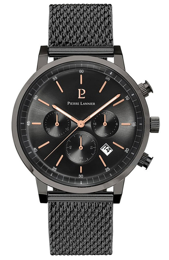 PIERRE LANNIER Black Stainless Steel Chronograph 204F488