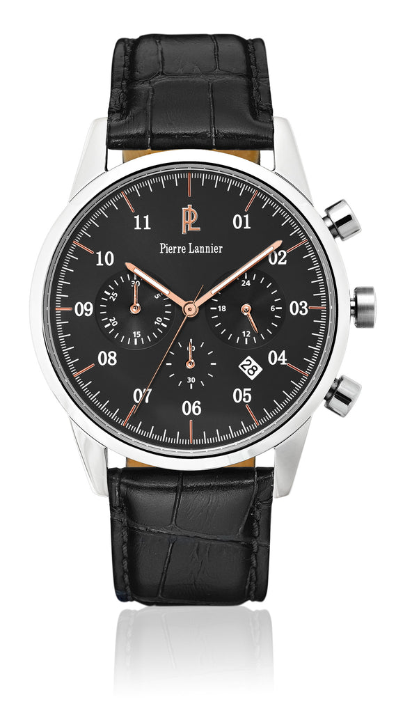 PIERRE LANNIER CHRONOGRAPH Black Leather Strap 223D183