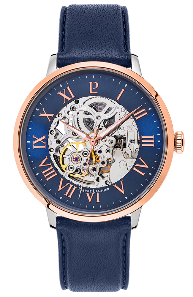 PIERRE LANNIER Automatic Rose Gold Blue Leather Strap 323B166