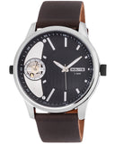 3GUYS Mens Dual Time Brown Leather Strap 3G18126