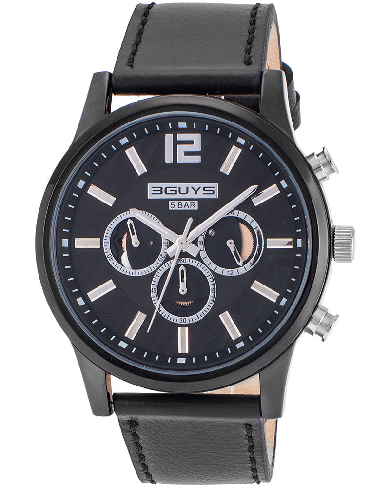 3GUYS Chronograph Black Leather Strap 3G38004