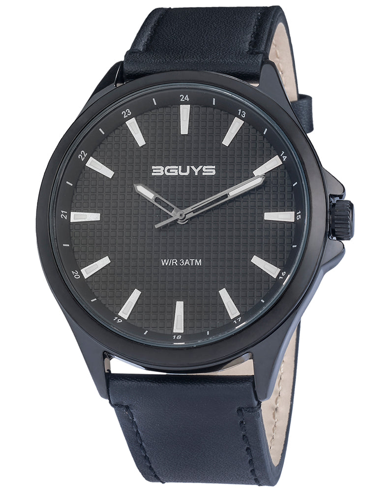 3GUYS Black Leather Strap 3G99002