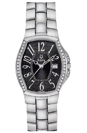 BULOVA Diamond Black Dial Stainless Steel Bracelet 63R07