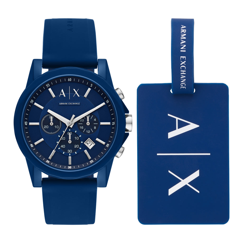ARMANI EXCHANGE Outerbanks Chronograph Blue Silicone Strap AX7107