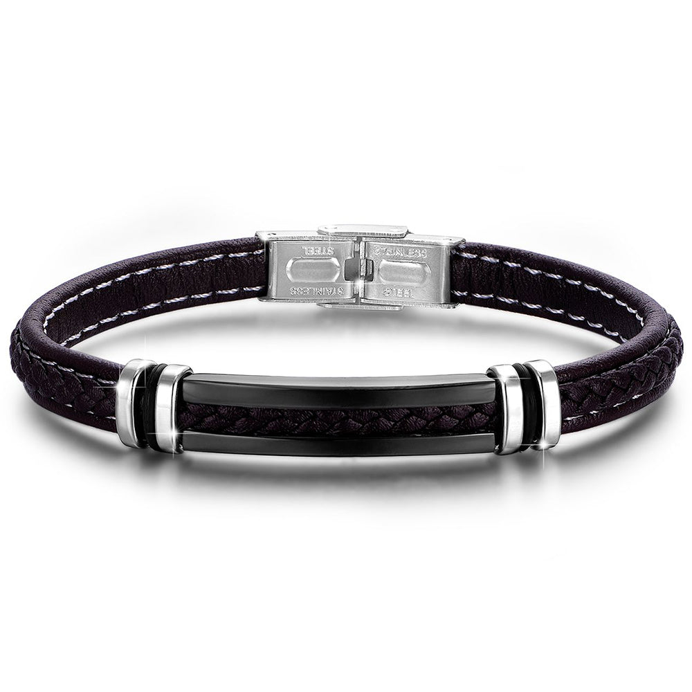 LUCA BARRA STAINLESS STEEL AND LEATHER BRACELET BA1040