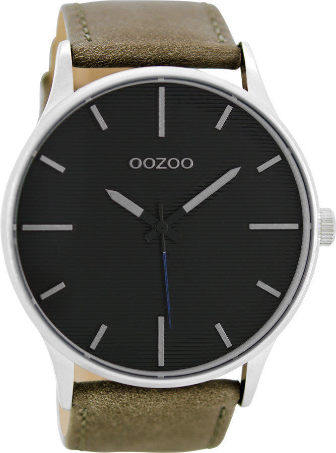 OOZOO Τimepieces Grey Leather Strap C8551